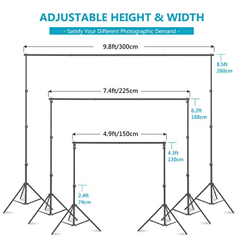 Neewer Photo Studio 8.5x10feet/2.6x3M Backdrop Stand Backdrop Support System with 6x9ft/1.8x2.8M Polyester Backdrop…