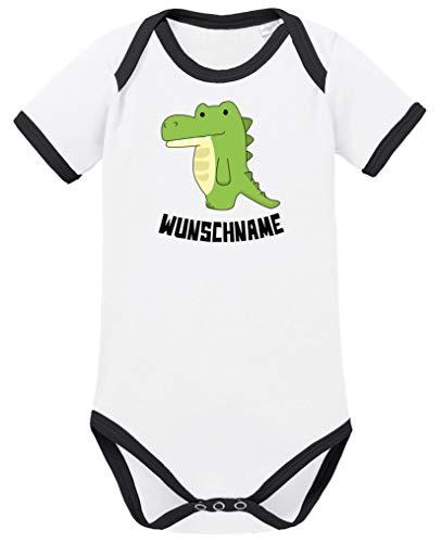 Comedy Shirts - Clipart Krokodil - Wunschname - Baby Contrast Body - Weiss-Schwarz/Schwarz Gr. 86/92