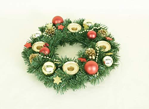 Corona de Adviento – Corona de Adviento artificial con 4 portavelas I Corona de Navidad de 35 cm de diámetro I...