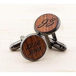 Holz Manschettenknöpfe personalisiert mit Initialen und Datum, Individuelles Geschenk für Männer Weihnachtsgeschenk…