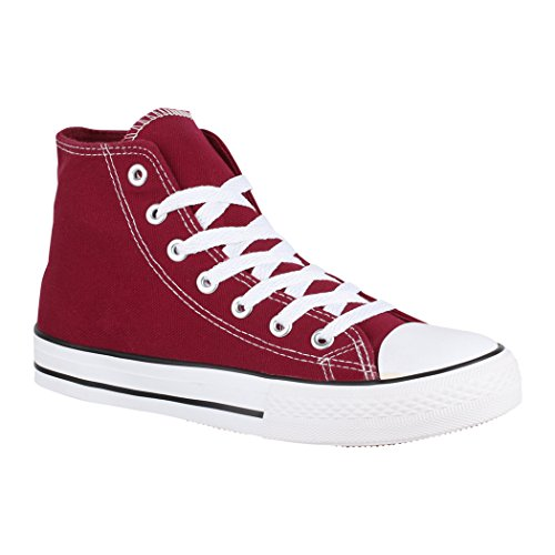 Elara Zapatilla Unisex Zapatos Deportivos Cómodos Mujer y Hombre Textil High Top Chunkyrayan Vino 014-A-XG201 Wine-37