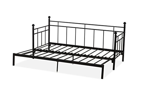 Humza Amani Princeton Extending Day Bed in Black Metal Finish, 2FT6 Small Single Size; Frame Only