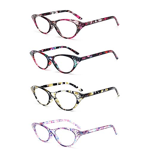 Jigan Vintage leesbril, set van 4 stuks, Spring Hinge, ultrahelder zicht, wanneer en waar je het nodig hebt. Matte afwerking voor een glad gevoel en stijlvol design.