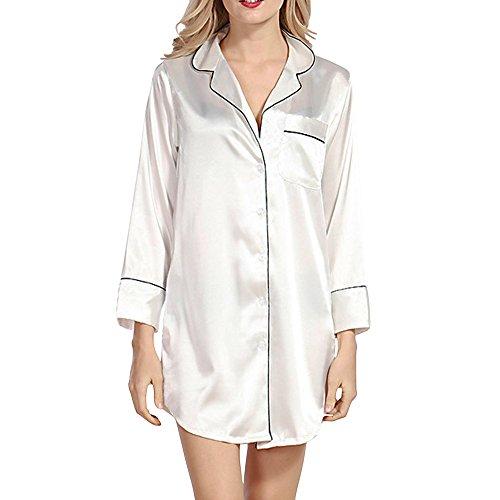 Sidiou Group Nachahmung Seide Satin Nachthemd Langarm Nachtwäsche Satin Damen Schlafkleid Schlafhemd Nachtkleider Pyjama Oberteil Nachtwäsche für Frauen (Weiß, S)