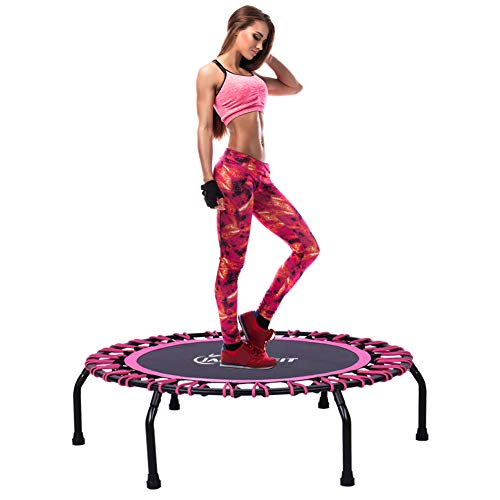 Jandecfit 40' Silent Mini Fitness Trampoline, Rebounder Trampoline Small Gym Trampoline for Indoor Fitness, Bungee Rope Design System, the Best Choice for Aerobic Exercise,Max Limit 330 lbs