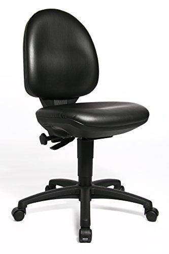 Topstar TEC 50, comfortabele bureaustoel, bureaustoel, werkkruk, rolkruk, kunstleer, zwart