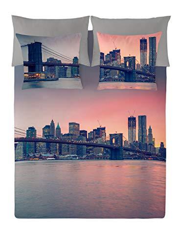NATURALS Juego De Funda Nórdica Brooklyn Bridge Gris/Naranja Cama 105 (180 x...