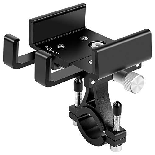 Ryaco Porta Cellulare Girevole a 360 °, Compatibile con Smartphone da 4,7 a 7,2 Pollici, Supporto Universale Antiurto per Bicicletta e Moto con manubri Regolabili Fino a 3,9 Pollici di Larghezza