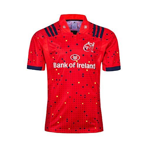 HBRE Rugby Jersey,Ropa De FúTbol De Visitante De MüNster City,Camiseta De Rugby para Hombre,2019 Camiseta De AlgodóN, Mangas Cortas Deportivas De Secado RáPido para,Red,XL