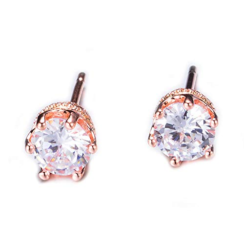 s925 sterling silver rose gold silver pin earrings AAA white zirconia birthstone earrings gift six claw earrings