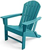 ASTEROUTDOOR Folding Composite Adirondack Maintenance & Weather Resistant Classic Outdoor Plastic Chair for Patio, Deck, Garden, Backyard, Beach, Pool and Fire Pit Seating, Blue