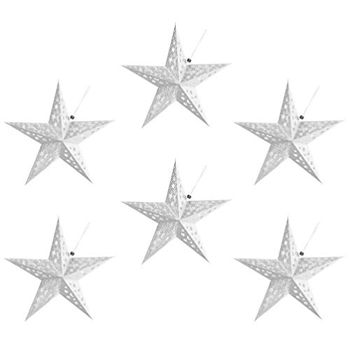 Minkissy 6Pcs Paper Star Lantern Decoración de La Pantalla 3D Paper Star Pentagram Pantalla de Lámpara Pantalla de Origami para La Fiesta de Bodas de Navidad Decoraciones Colgantes para El