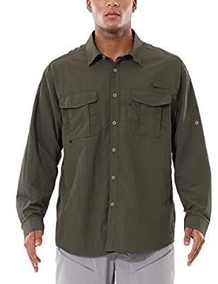 BALEAF Men's UPF 50+ Hiking Shirt Long Sleeve Shirt Outdoor Lightweight Quick Dry Fishing Shirts Dull Grey XL