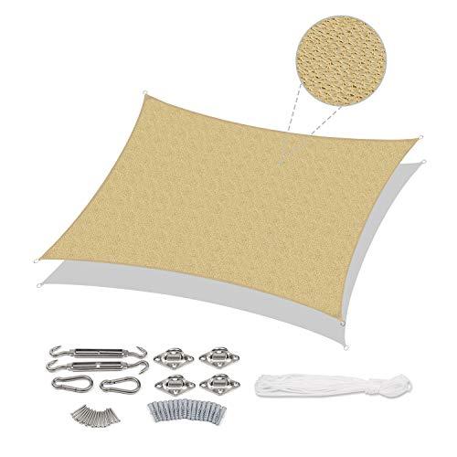 Sekey Sonnensegel Sonnenschutz Rechteck HDPE Windschutz Durchlässig Atmungsaktiv Tear Resistant Wetterschutz, für Outdoor Garten Terrasse, mit Seilen und Edelstahl-Montagesatz, 4×5m Sand