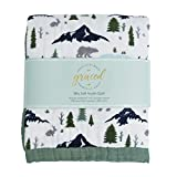 Softest Large 4-Layer Bamboo Muslin Quilt, 47' x 47' Bamboo + Cotton Blanket by Graced Soft Luxuries, Bear's Forest