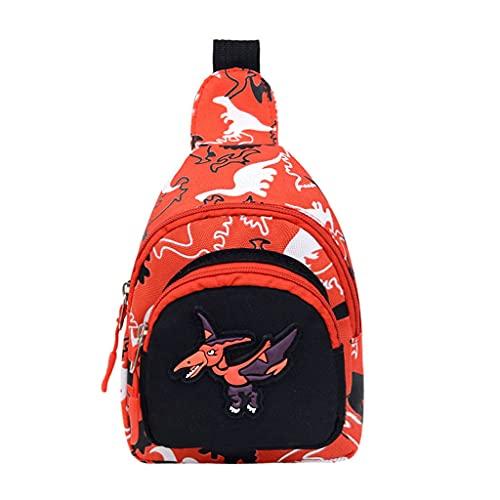 MEIBAOGE Bolso de Hombro portátil para niños Niños Niñas Precioso Bolso de Pecho de Dinosaurio Moda, Bolso de Compras-Rojo