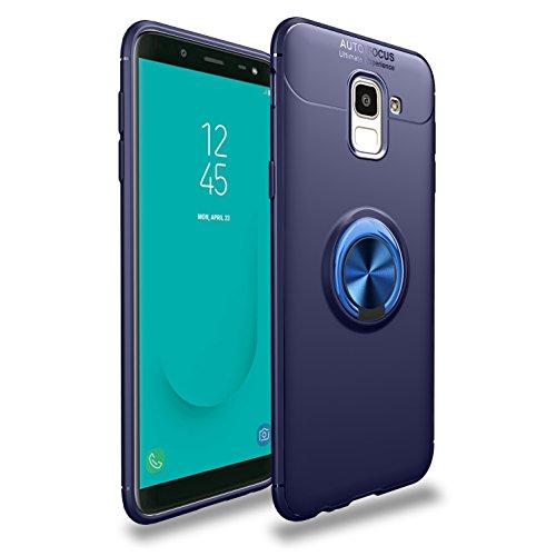 Yobby Souple Silicone Coque pour Samsung Galaxy J6 2018, Coque Ultra Mince 360 Degres Rotation Bague Doigt Kickstand [Magnétique Support Voiture] Antichoc Housse de Protection-Bleu Marin