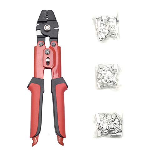 SETROVIC Wire Rope Crimping Tool Up To 2.2mm Wire Rope Swager Crimpers with 180Pcs 3 Size Aluminum Double Barrel Ferrule Crimping Loop Sleeve Kit