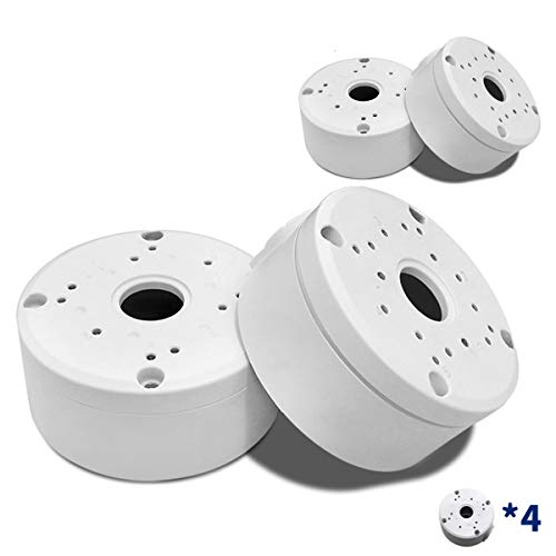 Universal Bullet Security Camera Junction Box Mount Bracket, Outdoor Use Waterproof Wall Ceiling Mount Aluminum Hide Cable Junction Base Boxes (4 Pack)