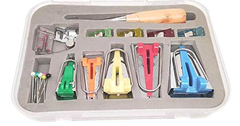 YICBOR Bias Tape Maker 6mm 9mm 12mm 18mm 25mm Fabric Bias Binding Maker with Binder Foot Bradawl Quilting Clips Sewing Pins Kit (Bias Tape Maker(Box))