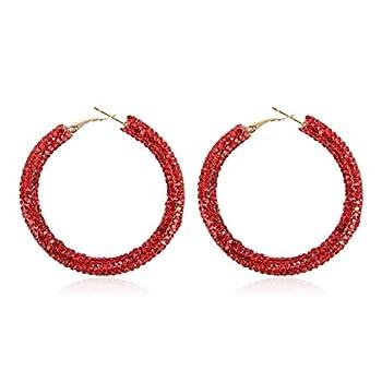Best red rhinestone hoop earrings Reviews