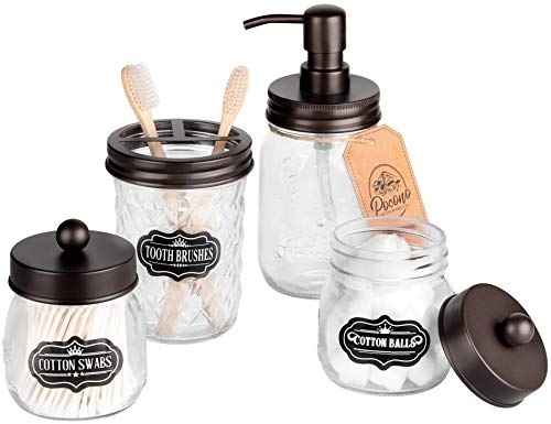 Premium Mason Jar Badezimmer-Zubehör-Set, Mason Jar Seifenspender, 2 Apothekergläser (Qtip Halter), Zahnbürstenhalter, rustikales Badezimmer-Zubehör, Bauernhaus-Dekor, Kosmetik-Organizer, Bronze