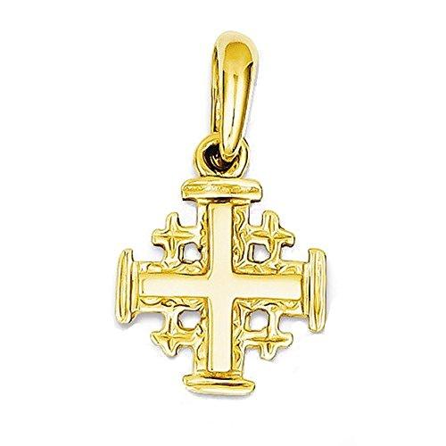 Anhänger Jerusalem-Kreuz, 14 Karat Gelbgold, klein
