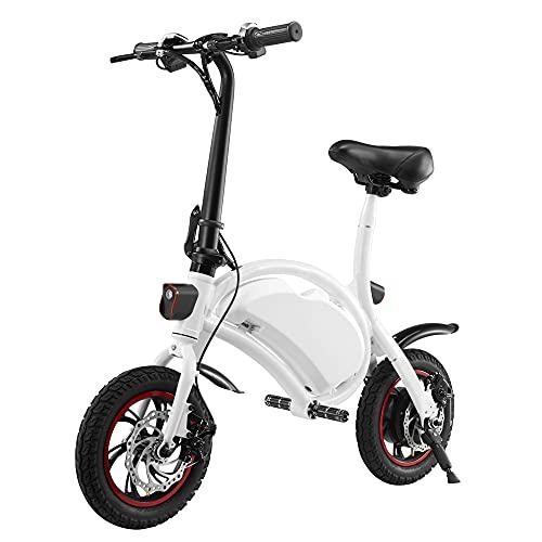BBZZ Scooter eléctrico, Bicicleta eléctrica Plegable de cercanías de la Ciudad, Velocidad máxima 25km / h, kilometraje 20km, 350W / 36V Recargable,Blanco