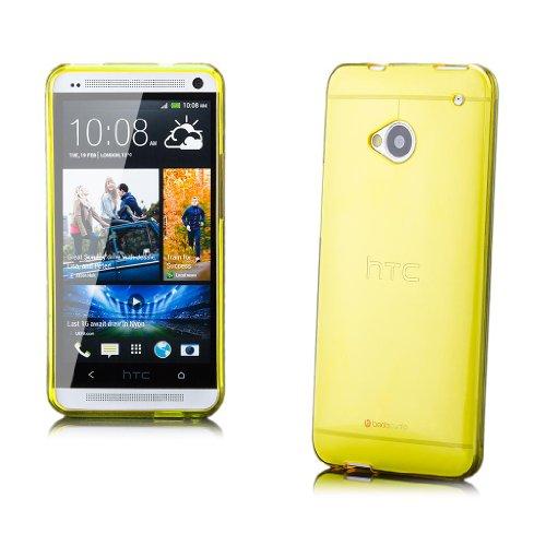 iCues HTC One M7 |  Transparent TPU Case Gelb | [Display Schutzfolie Inklusive] Transparent Klarsichthülle Durchsichtig Klare Klarsicht Silikon Gel Schutzhülle Hülle Cover Schutz