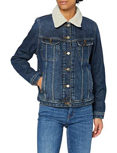 Lee Sherpa Jacket Chaqueta, Azul (Vintage Worn Jk), Medium para Mujer (Ropa)