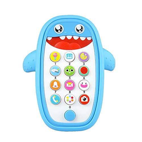 MINMEER Juguete de teléfono celular para bebé con música de dentición y juego de aprendizaje temprano para teléfono inteligente educativo juguete para niños pequeños y niñas más de 18 meses (azul)