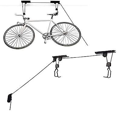 HOMEE Bike Lift, Heavy Duty Bicycle Ceiling Hook Mount Hoist Storage for Garage/Shed, Vertical Bike Holder Indoor Hanging System with Screw