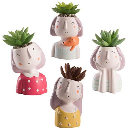 Baroni Vaso Testa Girl con pianta Artificiale. Set 4 sculture Colorate in Ceramica 8X7X14 cm