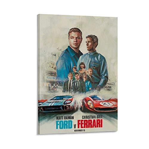 BVNGF Affiche du film Le Mans 66 (FVF) F1 - Art mural - Impression moderne - Décoration pour chambre familiale - 50 x 75 cm