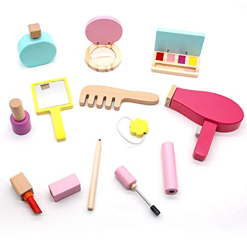 jerryvon Maquillaje Niñas - Juguetes de Madera Maquillaje Infantil Juguetes Niñas 3 Años 4 Años 5 Años Kit de Maquillaje Regalo Niña con 16 PCS