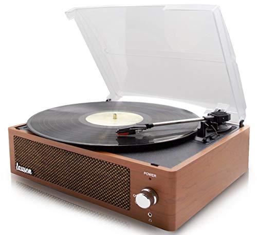 LAUSON XN092 Plattenspieler Eingebauten Lautsprechern | 33/45/78 | USB | Record Player Vintage | Plattenspieler Bluetooth | RCA | Aux-In | Inklusive Ersatznadel (Holz)
