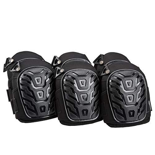 AmazonBasics - Rodilleras profesionales, relleno de espuma resistente, cómoda almohadilla de gel, con clips fácilmente ajustables, negro, 6pares