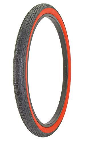 Alta Bicycle Tire Duro 26 x 2.125 Color Bike Tire Small Brick Pattern (Black/Red)