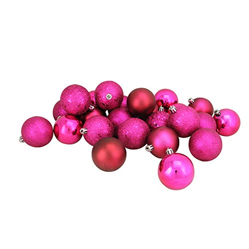 Northlight 24ct Pink Shatterproof 4-Finish Christmas Ball Ornaments 2.5″