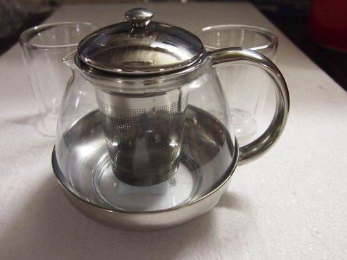 Teekanne mit Filtereinsatz / Kanne aus Glas / Deckel und Filtereinsatz aus rostfreiem Edelstahl für 1,0 Liter von Conny Clever®