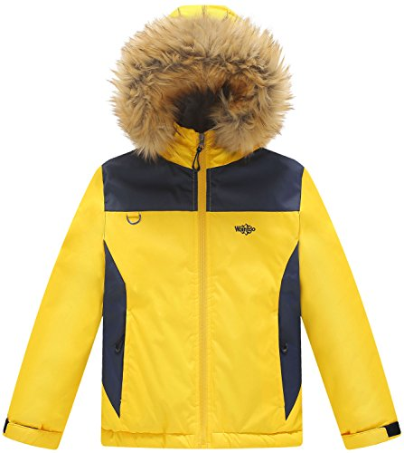 Wantdo Jungen Warm Softshelljacke Fleece Winddichter Winterjacke Blau+Gelb 152-158