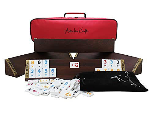 Antochia Crafts Wooden Oval Racks for Rummy Tile Game - Complete Set with Tiles and Case