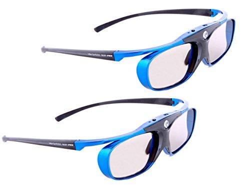 2X Hi-Shock DLP Pro Blue Heaven | DLP Link 3D Brille für 3D DLP Beamer von Acer, BenQ, Optoma, LG, Viewsonic [ |96-144 Hz | Akkubetrieb | DLP Link]