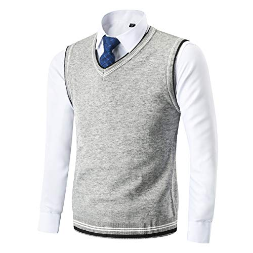 Kinlonsair Mens Casual Slim Fit Lightweight V-Neck Sweater Vest Thermal Knitted Sleeveless Sweater Gray