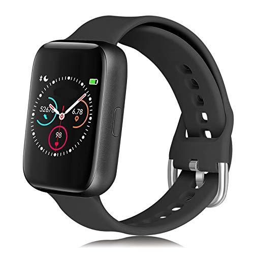 ms.universe Reloj de mujer Smartwatch, reloj de fitness deportivo con pulsómetro, podómetro de muñeca, presión arterial, SPO2, reloj inteligente mujer hombre Android IOS