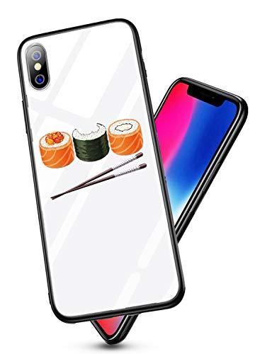 Alsoar Case ersatz für iPhone X Hülle,Personalisiert Hülle Kompatibel mit iPhone X,Ultra Dünn Silikon TPU & 9H Gehärtetes Glas Zurück Design Tasche Schale Kratzfeste Schutzhülle (Sushi)