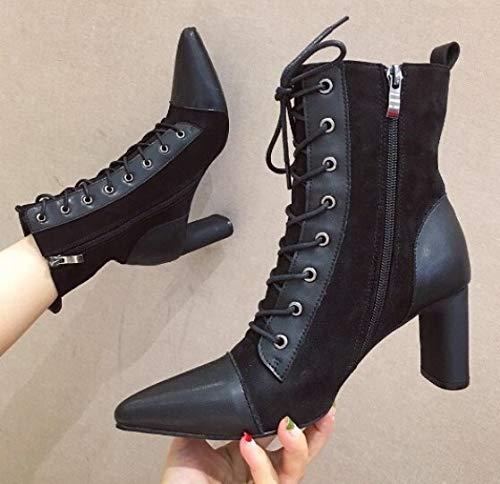 Einzelne Stiefel, Krawatte, Spitze Schuhe Wilder Herbst Stiefel Martin Stiefel Nackt Stiefel Damenstiefel (Color : Black, Size : 37)