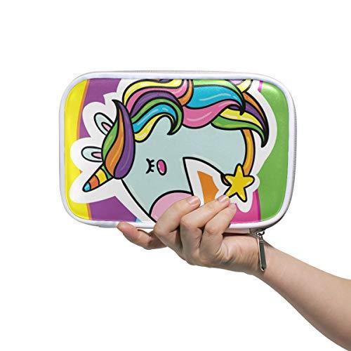 mnsruu Federmäppchen, großes Fassungsvermögen, buntes Einhorn mit Regenbogen-Multifunktions-Bleistifttasche, Kosmetiktasche, Aufbewahrungsbox für Schreibwaren, für Studenten, College und Schule
