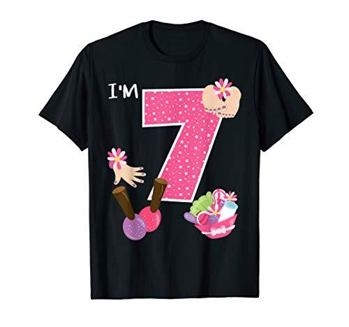 I'm 7 Spa Party Birthday Girl Nail Polish Makeup Birthday T-Shirt