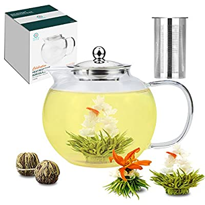 Glass Teapot with Removable Infuser, 50.7oz Stovetop Safe Tea Pot with Stainless Steel Strainer for Loose Tea, Large Teapot Gift Set with Free Blooming Tea Bonus